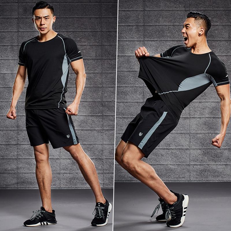 运动套装男夏季跑步服健身房冰丝短裤两件套爸爸速干夏天休闲薄款