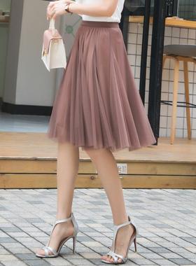 纱裙女半身春夏2021新款高腰显瘦黑色网纱裙外穿短裙遮胯半身裙子