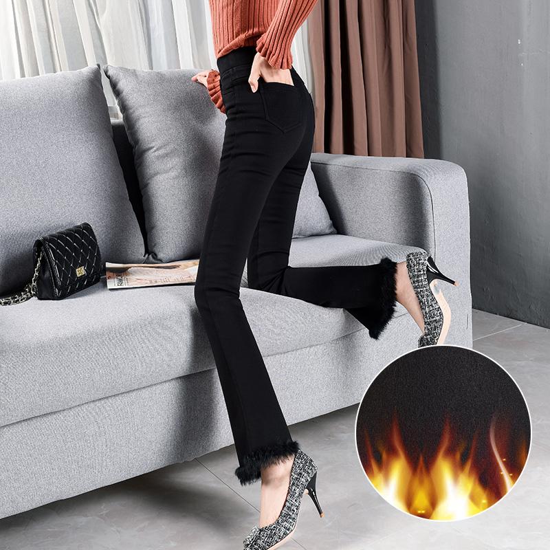 微喇叭裤女秋冬加绒加厚高腰黑色显瘦休闲裤韩版长裤带毛边微喇裤