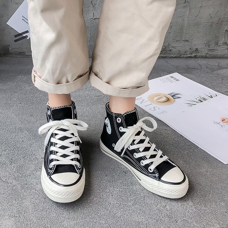 超火 ulzzang 板鞋 ins 潮鞋网红新款韩版学生百搭 2019 高帮帆布鞋子女
