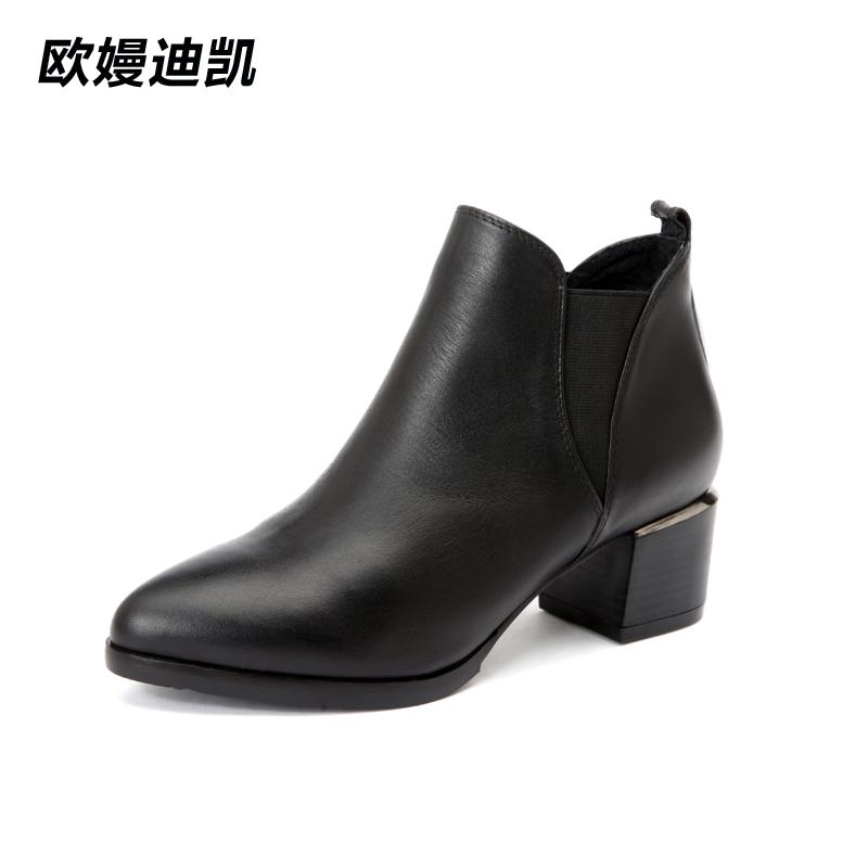 靴子女真皮英伦风尖头黑色秋冬短靴女欧美粗跟短筒裸靴切尔西靴女