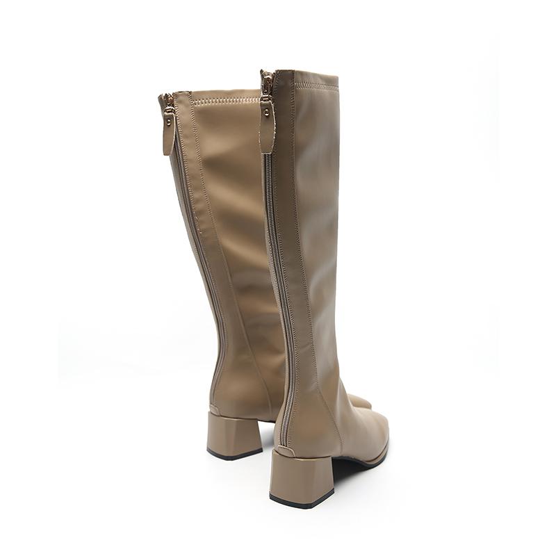 年新款长靴女皮靴粗跟马丁靴女 2020 吉尔达靴子 297 美美专享