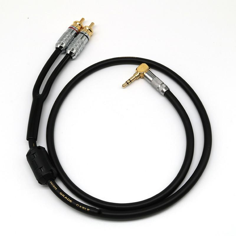 專業發燒級3.5轉雙RCA音訊線純銅一分二紅白線AUX電腦手機接音箱