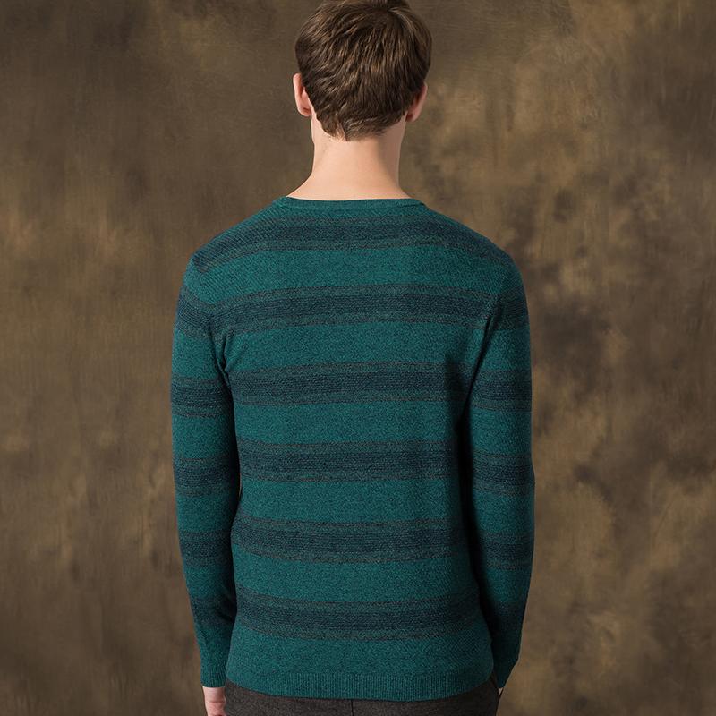 春秋薄款圆领条纹羊毛衫男士毛衣长袖宽松中年针织衫休闲男装线衫