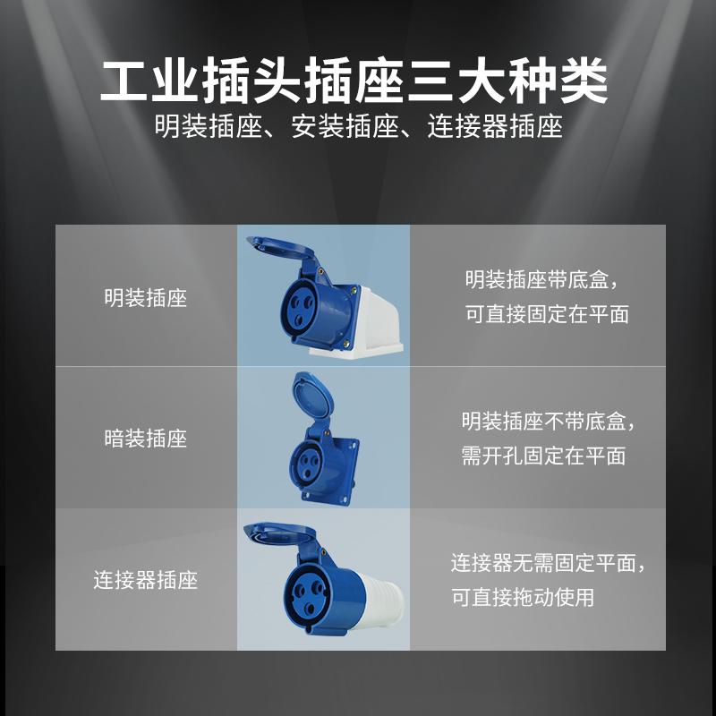 工业插头插座 3芯4芯5芯16A/32A航空防水防尘插头电缆公母对接