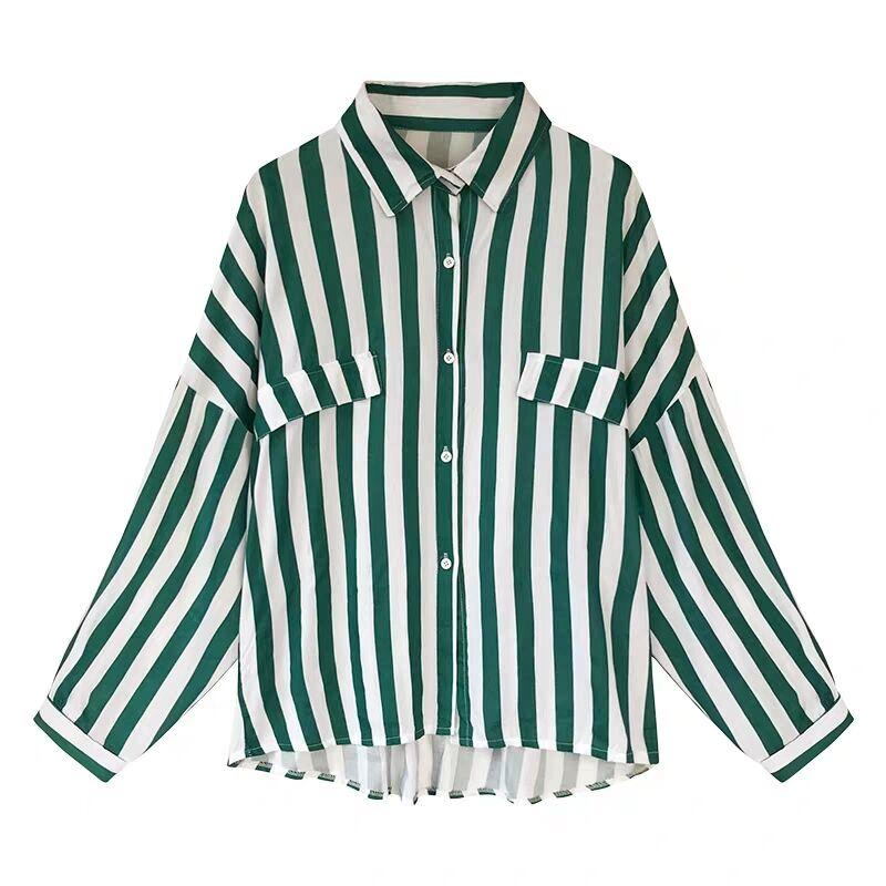 条纹衬衫女长袖  薄款外套 chic 网红爆款初秋女装新款港味宽松大码 bf