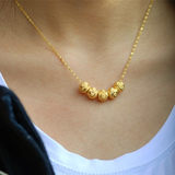 Gold Clavicle Water Ripple Necklace Gold 999 Women Gold Transfer Beads Pure Gold Necklace Pendant to Send Ring