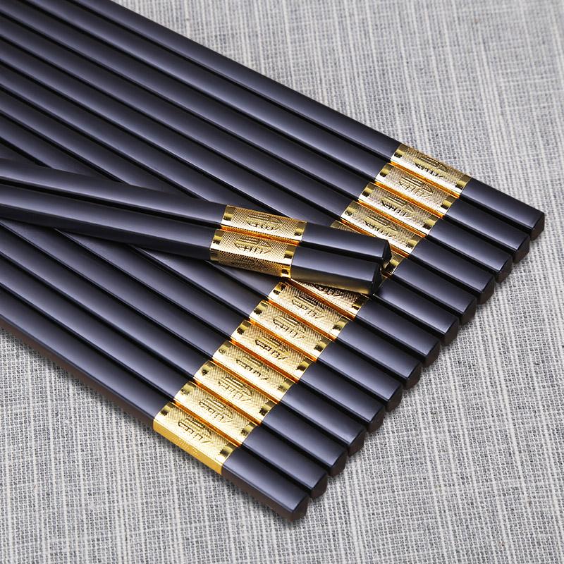 双枪合金筷子家用防霉尖头快子日式高档非实木竹防滑10双家庭套装