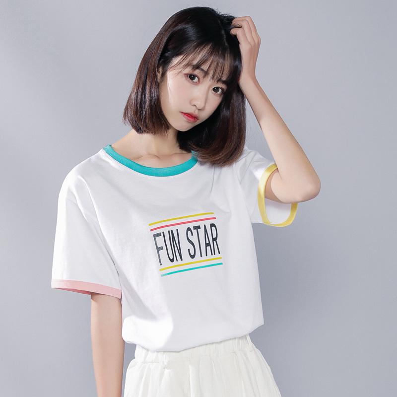 短袖2020年新款女白色网红t恤女ins超火夏季韩版宽松学生半袖上衣