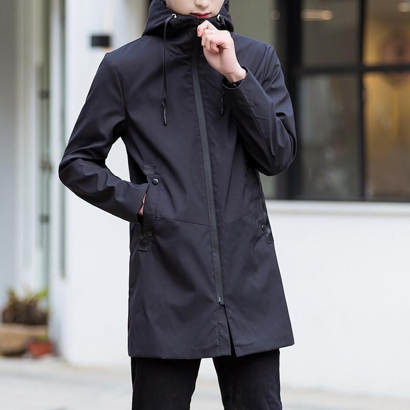 春装新款外套薄款 时尚休闲纯色大码夹克男  风衣男中长款连帽 2019