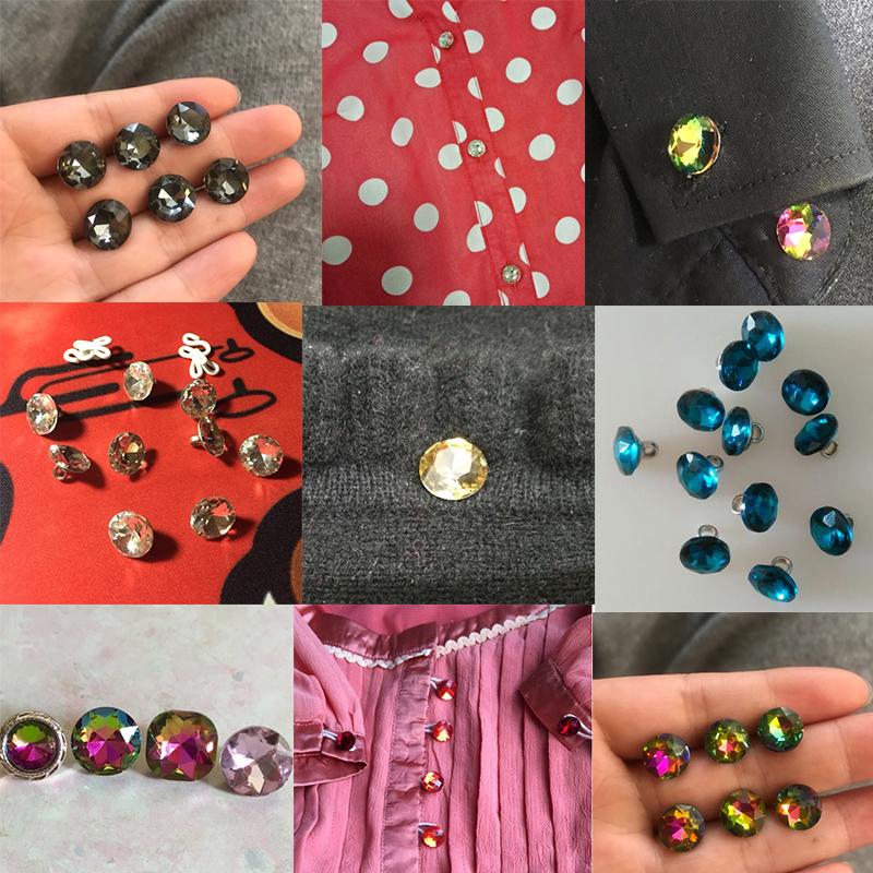 百搭纽扣水晶钻石钮扣水钻珍珠小扣子衬衫高档圆形衬衣装饰衣服女
