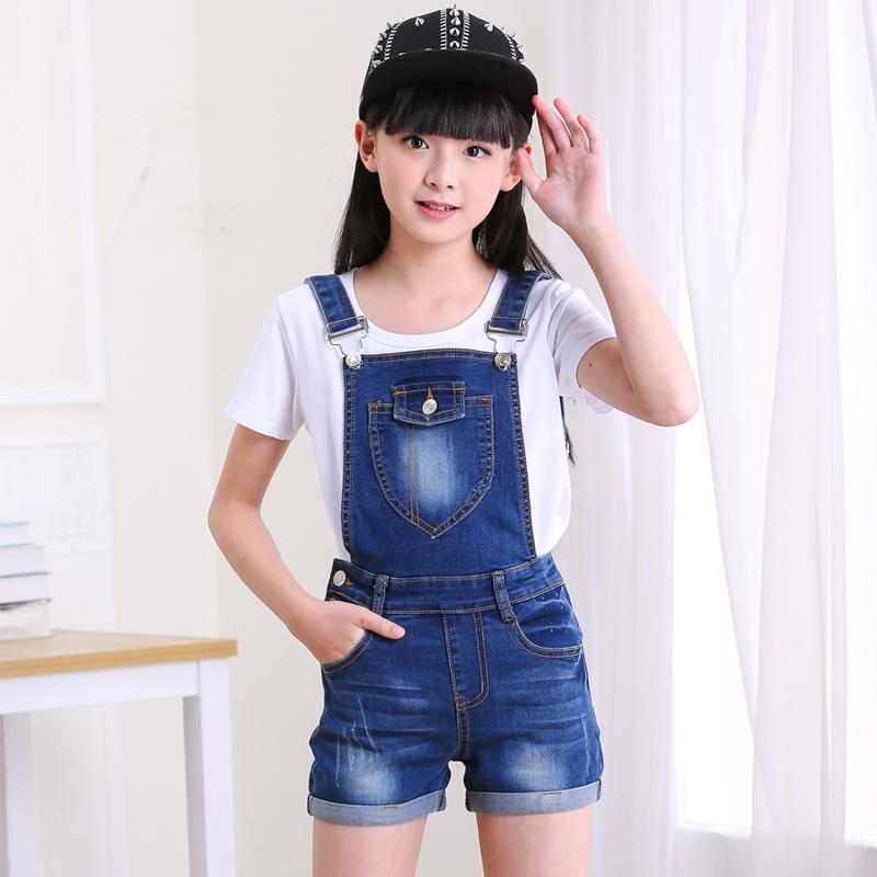 女童背带裤薄款牛仔短裤套装夏装新款中大童韩版学生吊带裤演出服