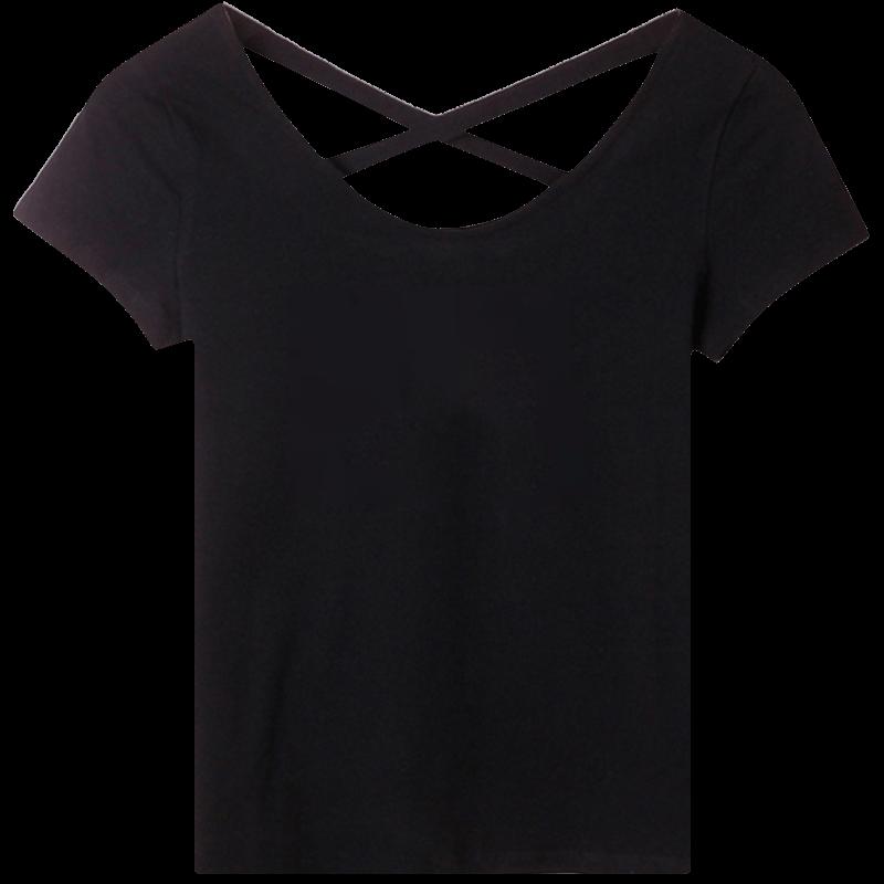 短袖t恤女2021年夏新款黑色修身紧身露背纯棉体恤设计感小众上衣主图
