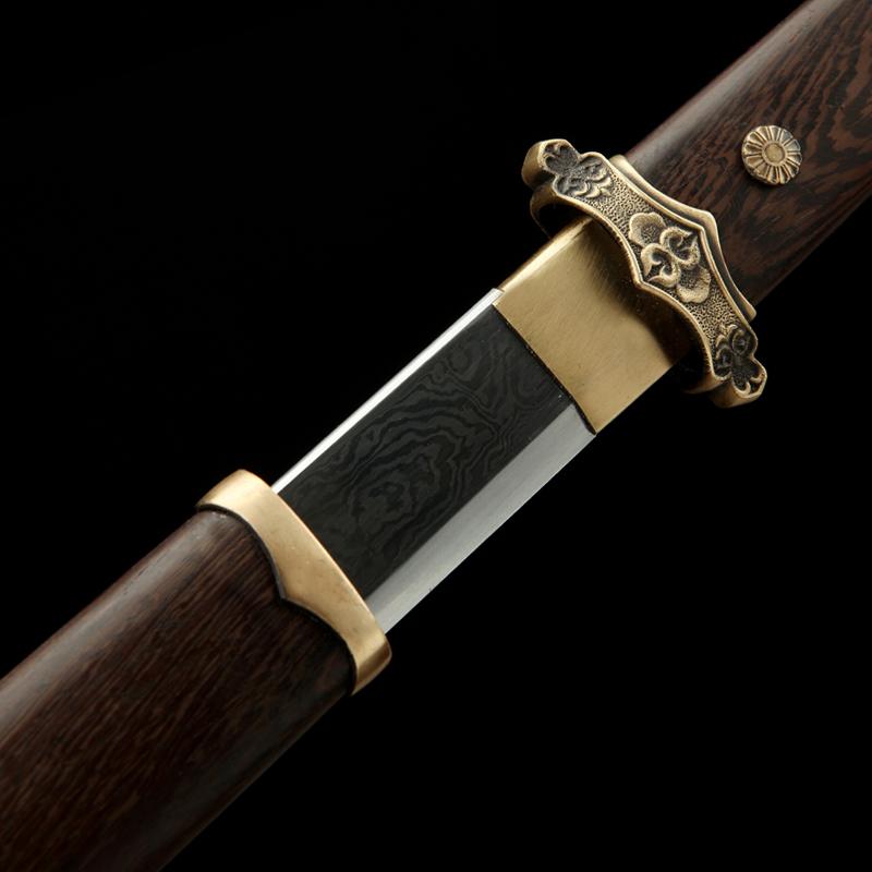 龙泉神龙唐横刀唐剑长款一体刀具防身冷兵器花纹钢宝剑未开刃