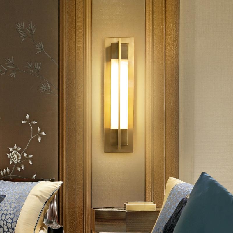 新款现代简约中式全铜壁灯床头客厅过道走廊背景墙复古灯具 世冠