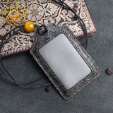 Leather card holder first layer cowhide retro ID set meal card bus card holder lanyard badge work tag work card