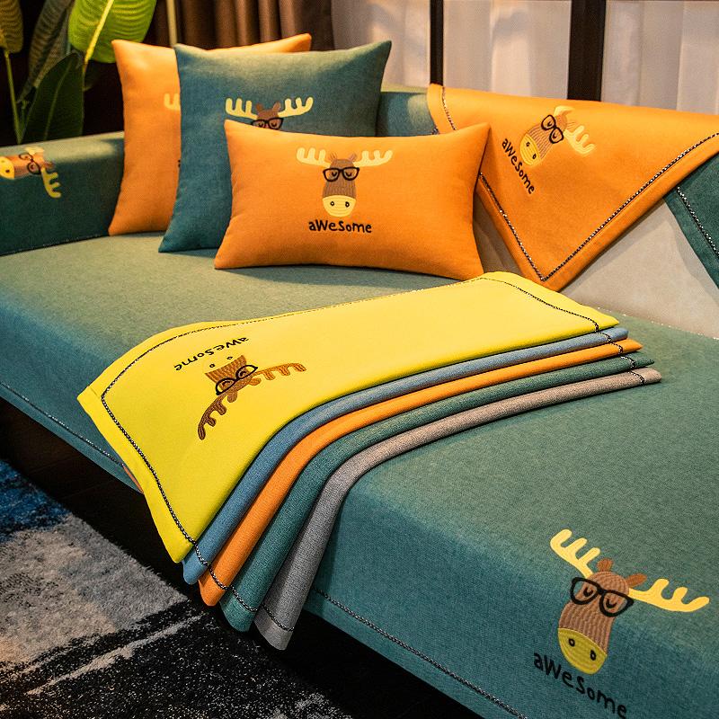 棉麻沙发垫子四季通用防滑坐垫北欧简约全包万能套沙发套罩盖布巾