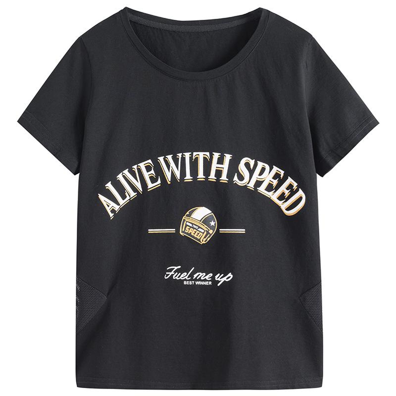 欧洲站女装2021年新款潮牌宽松纯棉白色t恤女短袖打底衫ins体恤夏主图