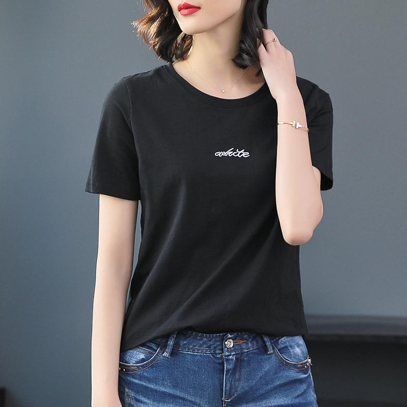 欧洲站新款洋气夏装2019欧货竹节棉白色t恤女短袖宽松潮牌体恤衫