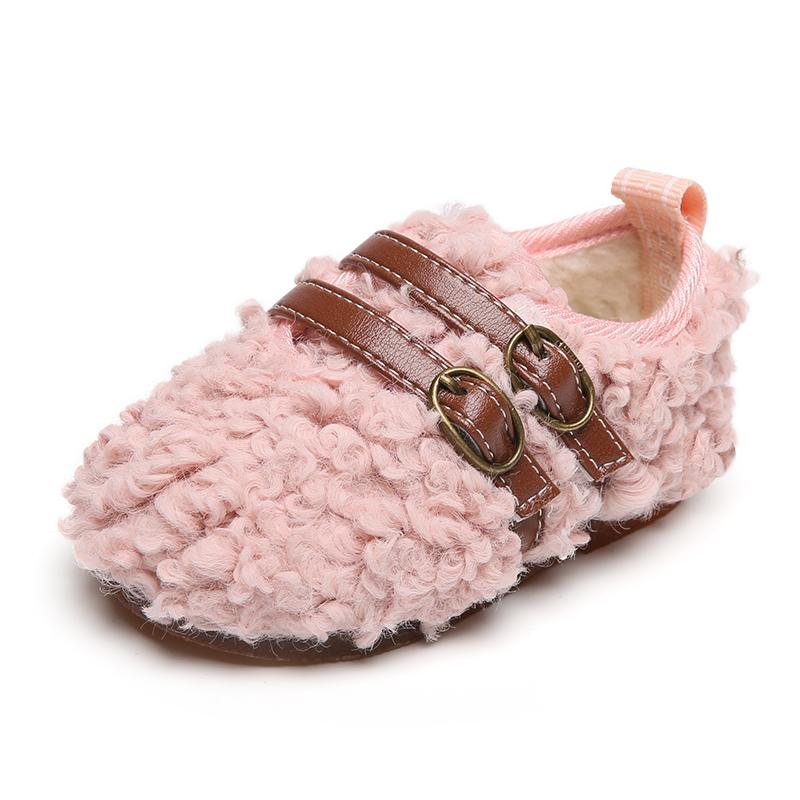 女宝宝公主鞋子婴儿羊羔毛鞋1一2岁加绒棉鞋秋冬季童鞋软底学步鞋