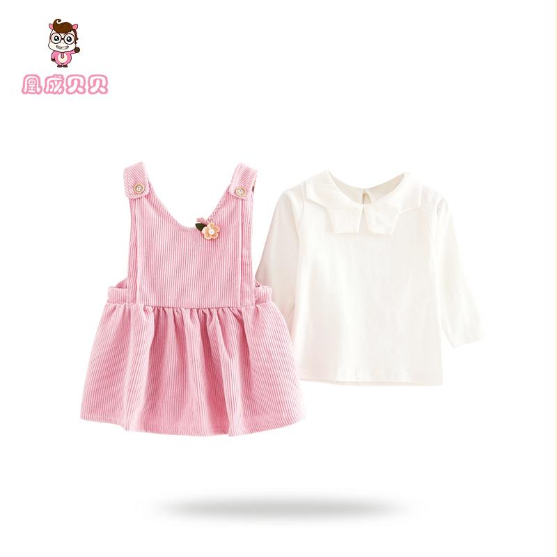 女童春款连衣裙长袖1-3岁2小童春装女宝宝套装裙子婴幼儿童两件套
