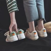 小白鞋女2019爆款秋款新款百搭韩版基础白鞋休闲皮面平底板鞋秋鞋 (¥55)