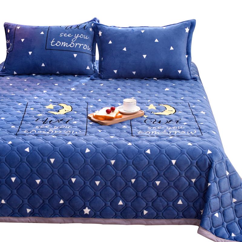 法兰绒毛毯床单单件加绒珊瑚绒面水晶绒夹棉被单双人单人学生宿舍 - 图0