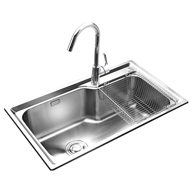 jomoo九牧厨房304不锈钢拉丝单槽水槽一体台上下洗菜盆洗碗水池
