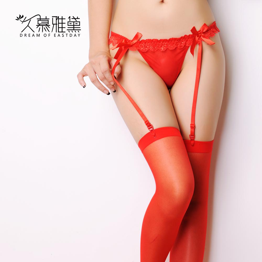 久慕雅黛性感诱惑蝴蝶结蕾丝吊带袜长网袜女丝袜丁字裤吊袜带套装