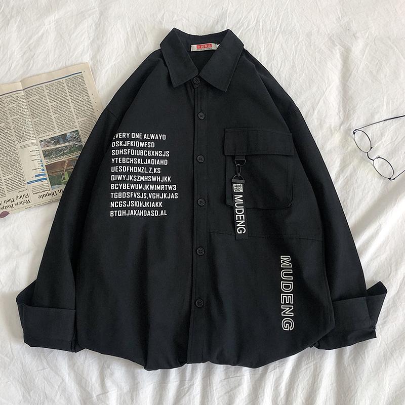 长袖衬衫男春秋季ins潮牌宽松大码学生上衣韩版休闲帅气工装外套