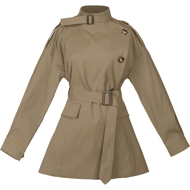 短款风衣女秋冬加厚2020韩版立领收腰宽松休闲气质中长款工装外套