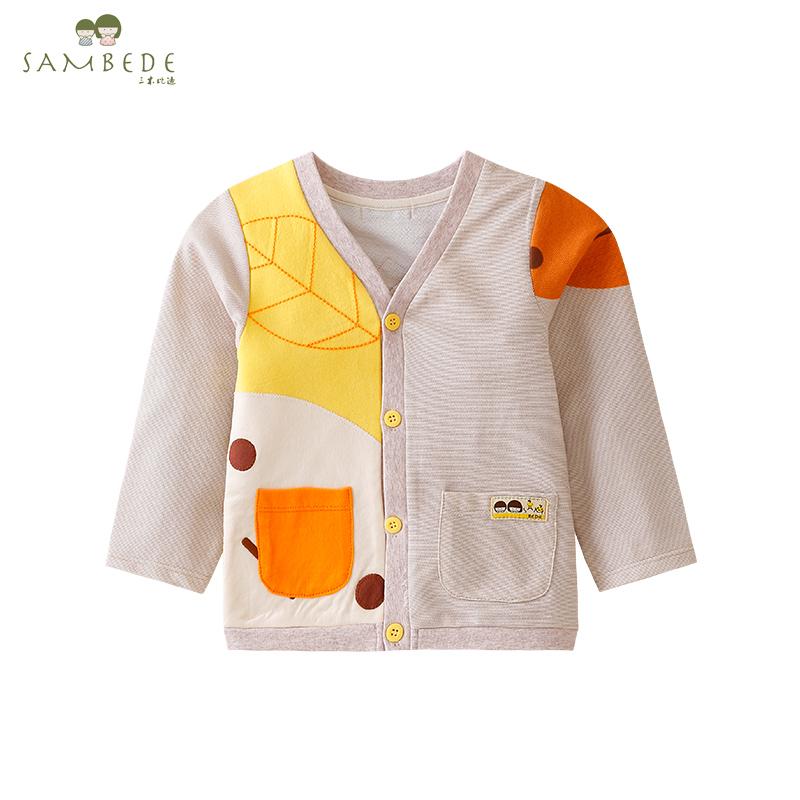 三木比迪 2018宝宝春季外套中小童水果派长袖V领全开衫儿童薄外套