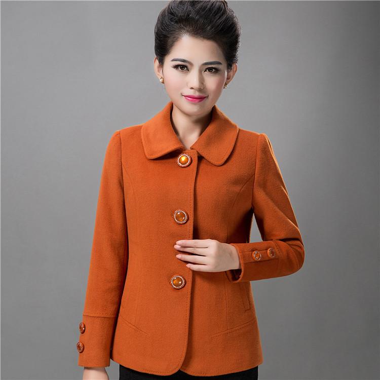 正品中老年女妈妈装40-50岁短款羊毛呢秋冬外套修身翻领羊绒大衣