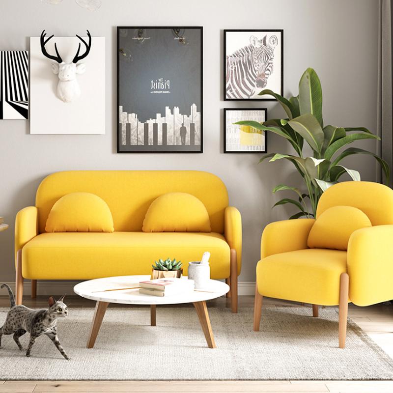北欧布艺沙发服装店简约网红双人三人出租房卧室客厅小户型沙发椅