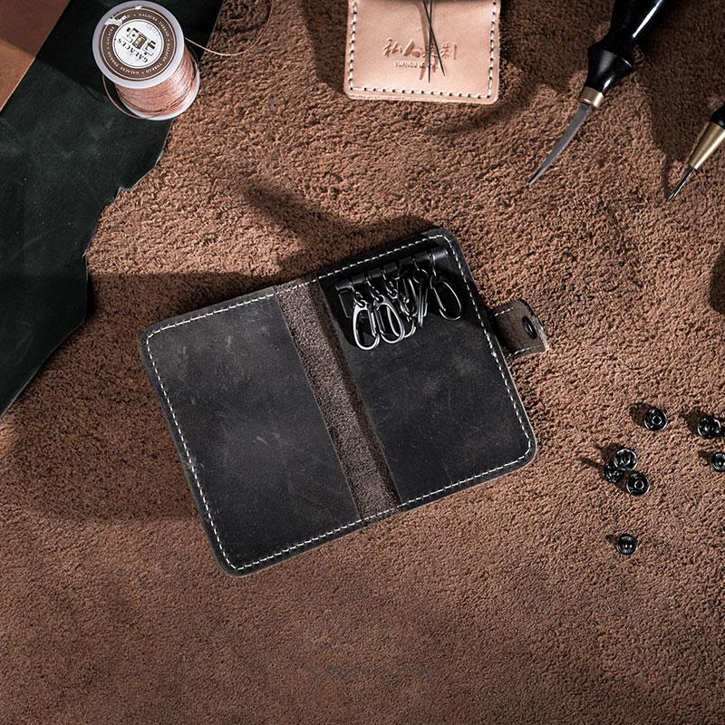 原創設計日韓瘋馬皮真皮手工復古多功能簡約休閒全牛皮鑰匙卡片包