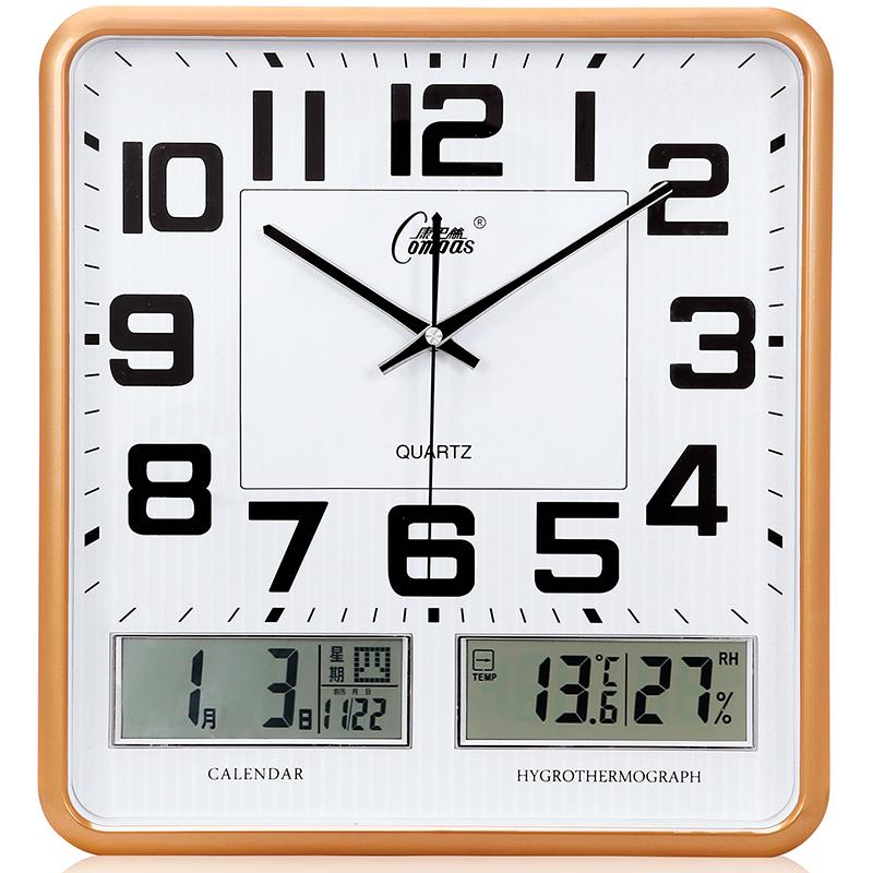 康巴丝电子挂钟表客厅卧室挂表静音日历时钟大号石英钟万年历家用