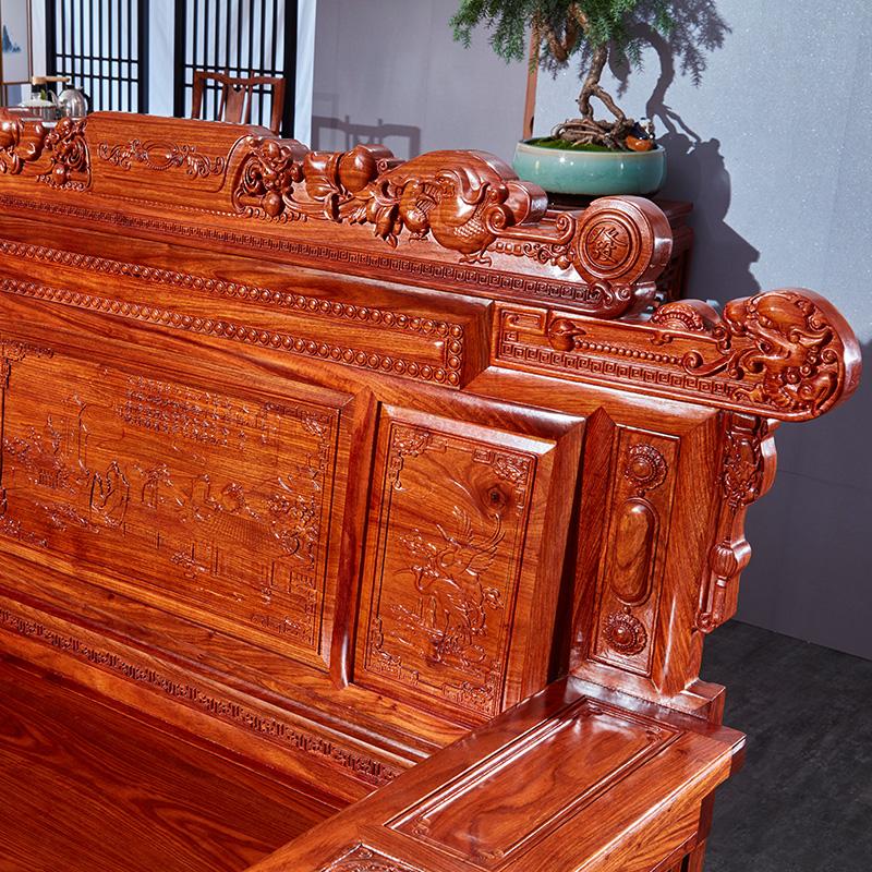 红木家具刺猬紫檀沙发中式仿古客厅转角实木沙发组合 花梨木沙发