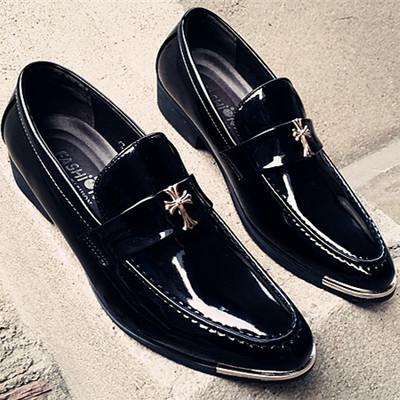 春秋新款男鞋休閒鞋韓版英倫髮型師增高時尚潮流尖頭商務黑色皮鞋