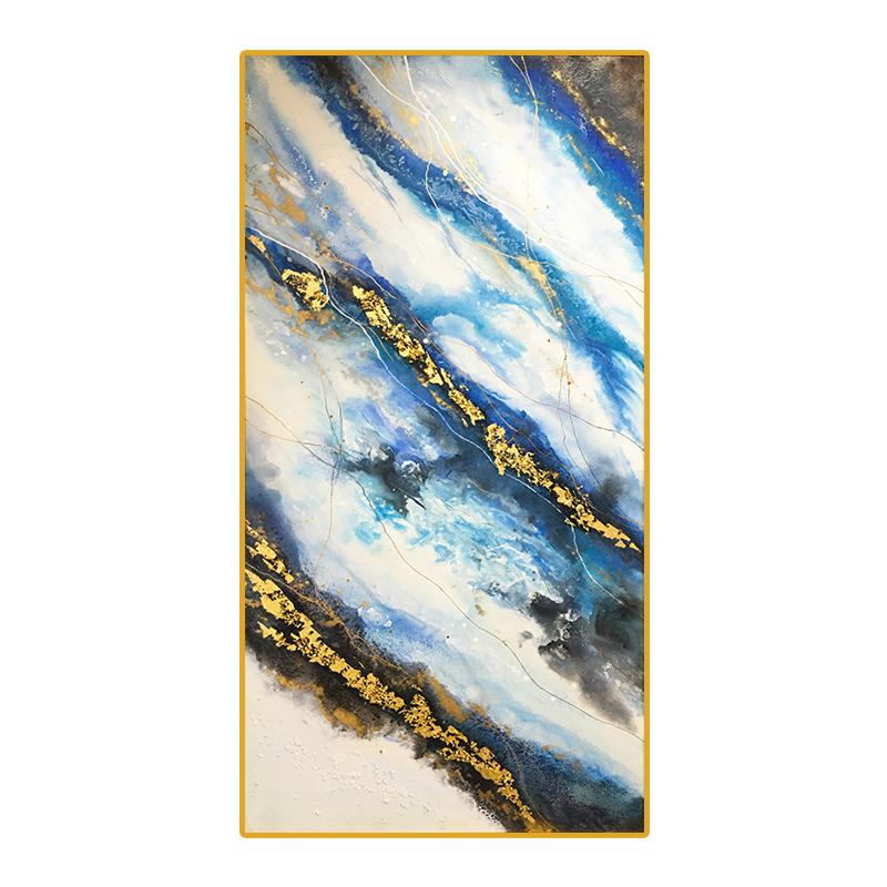 入戶玄關裝飾畫豎版走廊過道裝飾壁畫客廳手繪抽象油畫掛畫輕奢