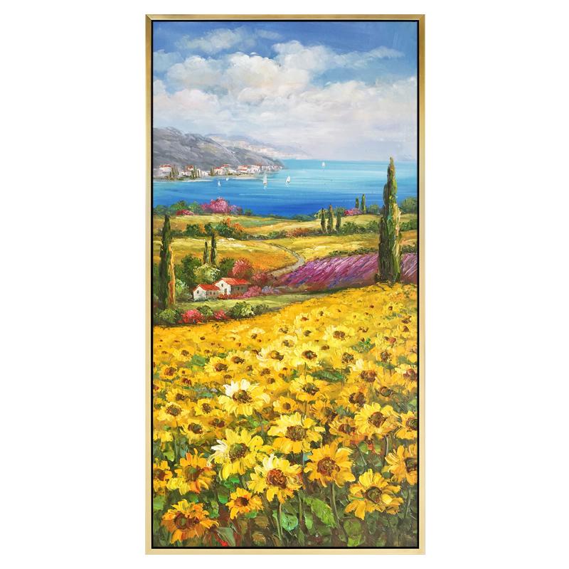 地中海風情簡約現代花卉風景歐式手繪油畫豎版客廳裝飾畫向日葵