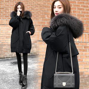 黑色显瘦羽绒服女2019时尚新款冬季中长款韩版宽松加厚大毛领外套