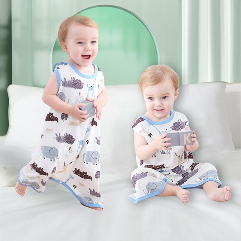 宝宝背心睡袋纯棉无袖夏季薄款儿童防踢被新生婴儿夏天空调房护肚