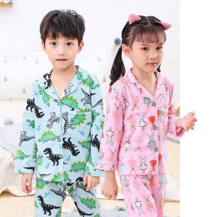儿童睡衣男童秋冬季薄款纯棉开衫蜘蛛侠长袖套装中大童女孩家居服