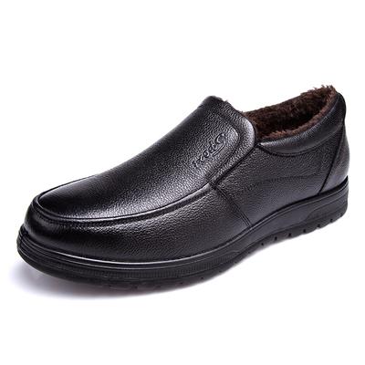 男士真皮加绒保暖透气爸爸鞋商务皮鞋男软底中老年休闲男毛绒棉鞋