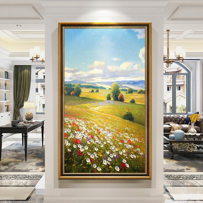 手繪風景油畫掛畫裝飾畫輕奢高端美式玄關畫走廊過道壁畫定制成品