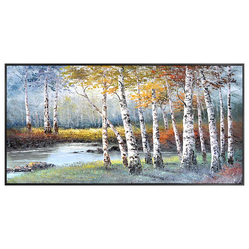 手繪白樺林油畫風景客廳沙發背景墻美式掛畫臥室主臥床頭橫裝飾畫