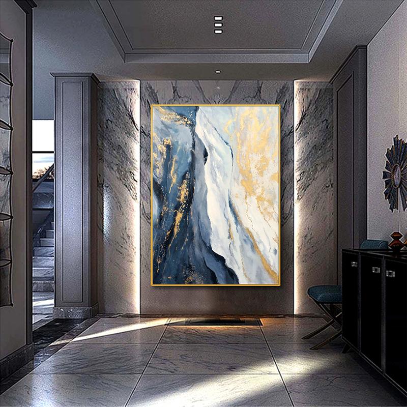 泛畫藝真手繪抽象油畫現代簡約金色輕奢歐式玄關裝飾畫金光流云