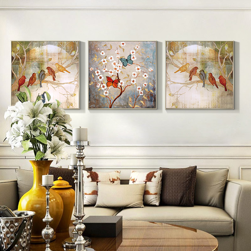 花卉手繪油畫客廳墻畫玄關裝飾畫沙發背景墻壁畫別墅臥室床頭掛畫