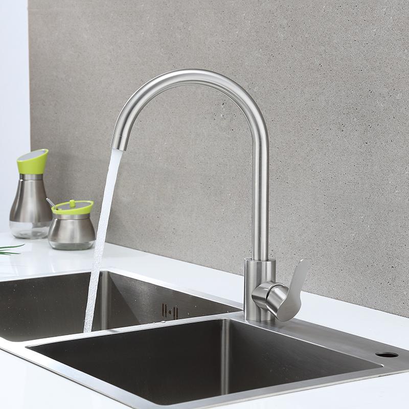 冷熱水槽家用單冷洗菜盆洗衣洗碗池洗臉面盆 不銹鋼廚房水龍頭 304