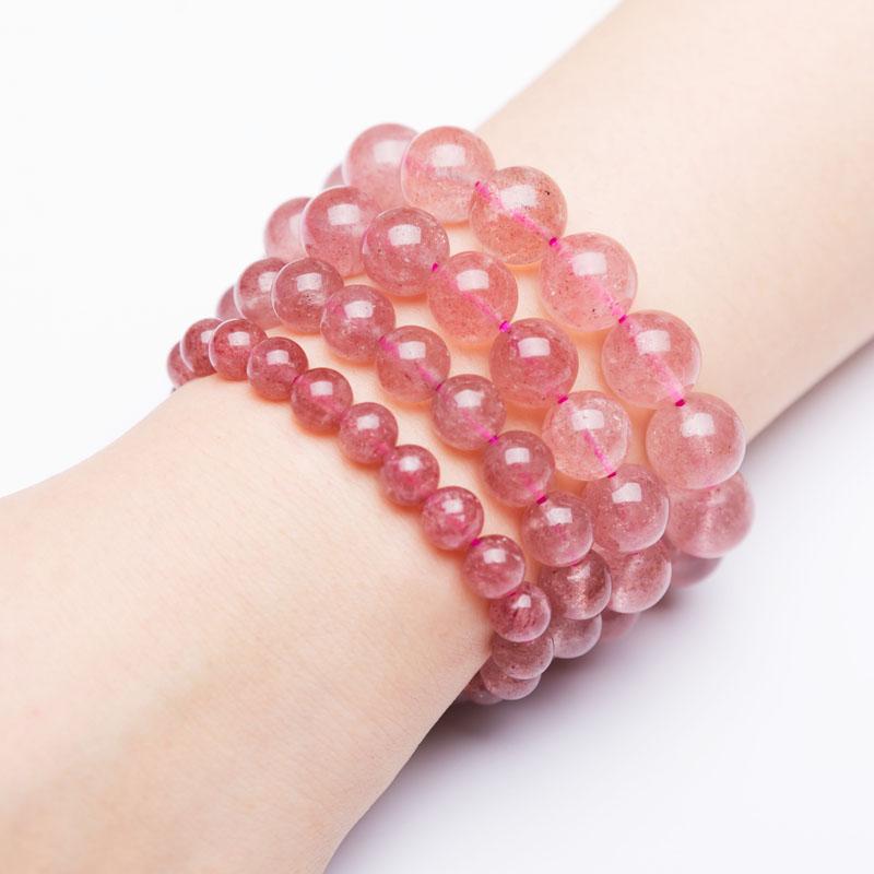 天然水晶转运珠粉晶手串单圈女生日礼物 米洛草莓晶手链女招桃花